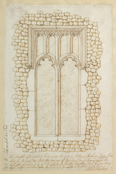 (View of a Gothic Window near the Font of St Marys Church, Dover) 48p